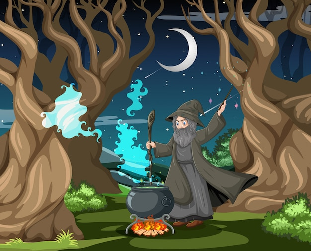 Kreator Lub Czarownica Z Magicznym Garnkiem Na Scenie Ciemnego Lasu Darmowych Wektorów