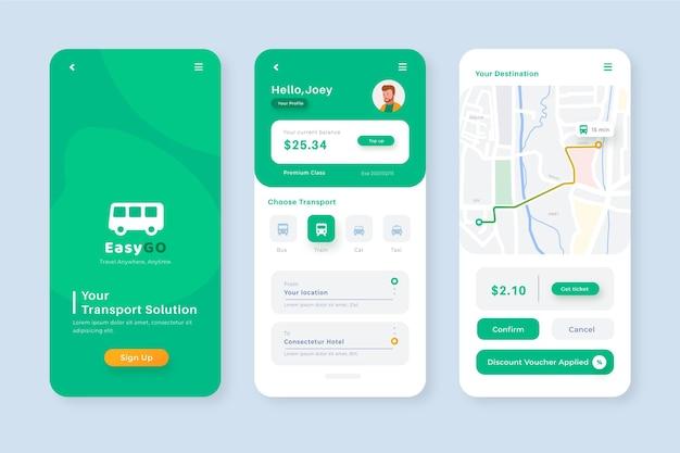 Kreatywna Aplikacja Na Smartfony Do Szablonu Transportu Publicznego Premium Wektorów