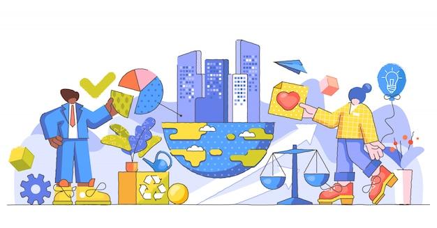 Kreatywna Ilustracja Odpowiedzialności Korporacyjnej Premium Wektorów