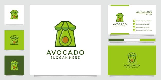 Kreatywna Inspiracja Logo Awokado. Logo Sklepu Z Awokado, Ikony I Wizytówki. Wektor Premium. Premium Wektorów
