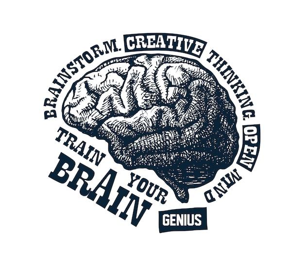 Kreatywna koncepcja ludzkiego mózgu Premium Wektorów