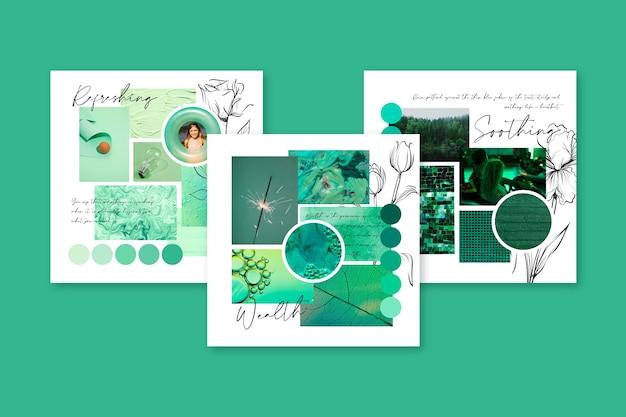 Kreatywna Tablica Nastrojów W Kolorze Zielonym Darmowych Wektorów