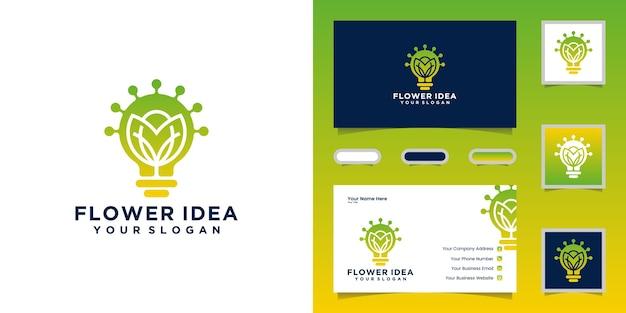 Kreatywna żarówka W Połączeniu Z Logo Kwiatów I Projektami Wizytówek Premium Wektorów