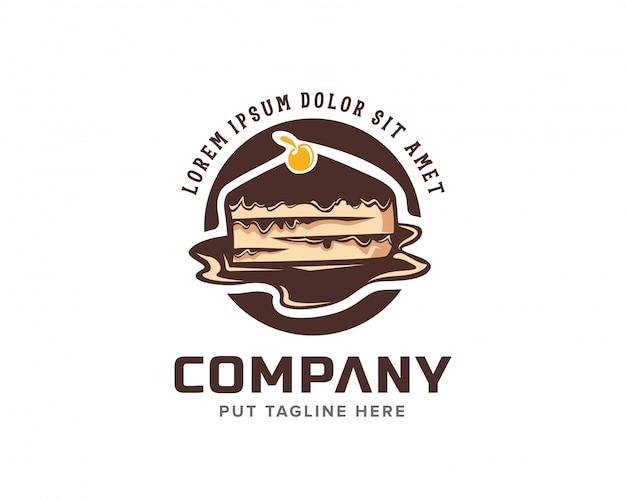 Kreatywne Ciasto Czekoladowe Z Wiśniowym Logo Premium Wektorów