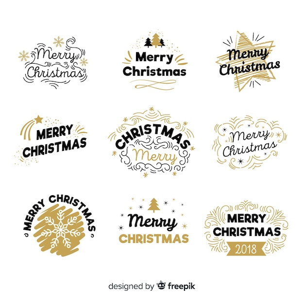 Kreatywne czarne i złote odznaki świąteczne kolekcji Darmowych Wektorów