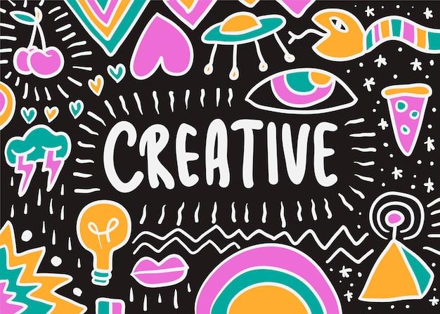 Kreatywne Doodle Ilustracja Darmowych Wektorów