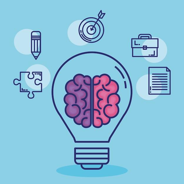 Kreatywne Ikony Mózgu Premium Wektorów