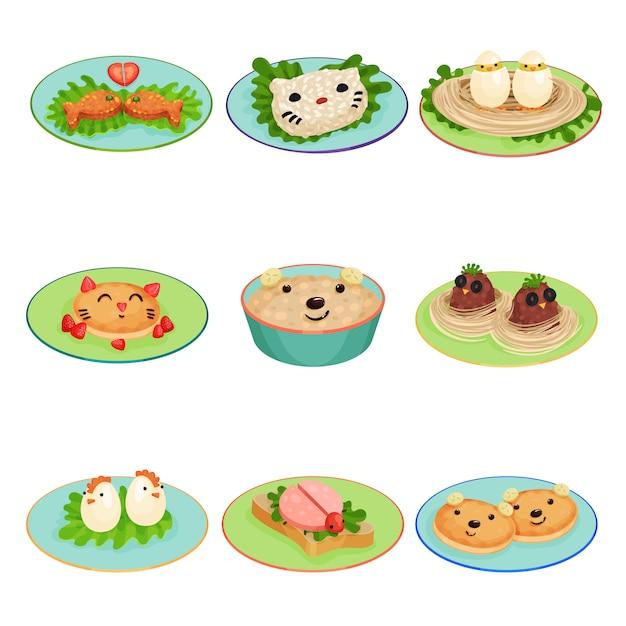 Kreatywne Jedzenie Dla Dzieci W Kształcie Zwierząt I Ptaków Ustawia Ilustracje Na Białym Tle Premium Wektorów
