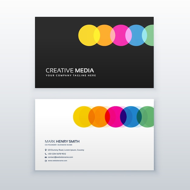 Kreatywne Kolorowe Koła Czyste Projektu Wizytówki Darmowych Wektorów
