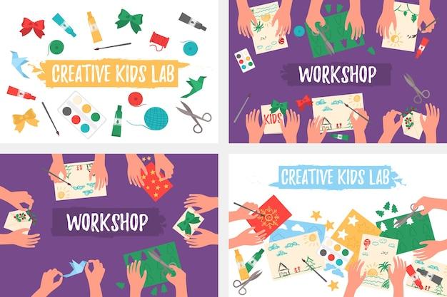 Kreatywne Laboratorium Dla Dzieci, Widok Z Góry, Ręce Dzieci. Cięcie Papieru, Malowanie, Robienie Na Drutach, Haftowanie, Aplikacja, Szycie. Premium Wektorów