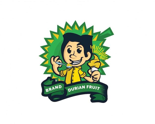 Kreatywne logo owoców durian z lodami Premium Wektorów