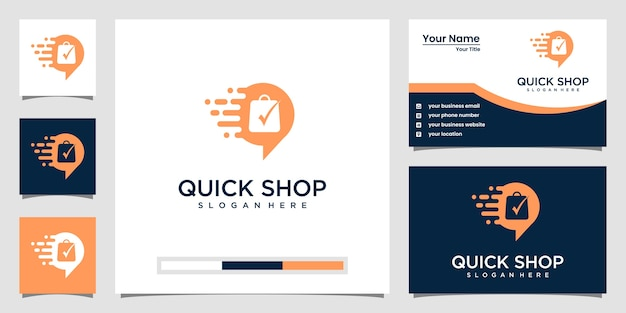 Kreatywne Logo Szybkiego Sklepu I Wizytówka Premium Wektorów