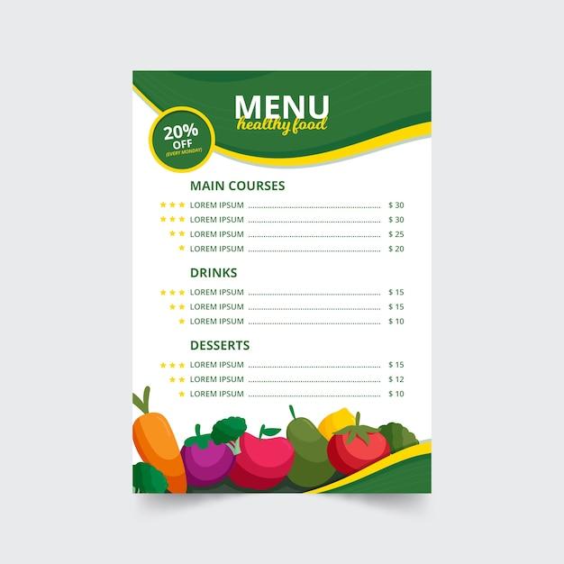 Kreatywne Menu Zdrowej żywności Z Ilustracjami Owoców I Warzyw Darmowych Wektorów