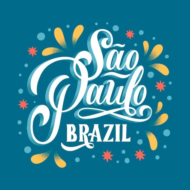 Kreatywne Napisy Sao Paulo Z Kolorowymi Zdobieniami Darmowych Wektorów
