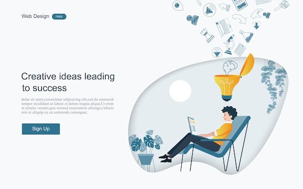 Kreatywne pomysły prowadzące do sukcesu Premium Wektorów