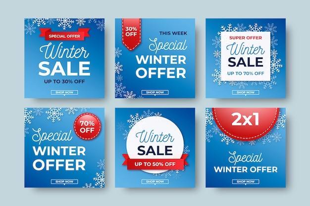 Kreatywne Zimowe Wyprzedaże Premium Wektorów
