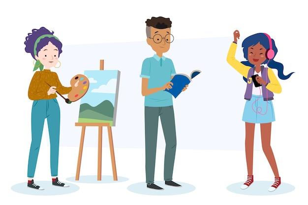 Kreatywni Ludzie Tworzący Nowoczesne Dzieła Sztuki Darmowych Wektorów
