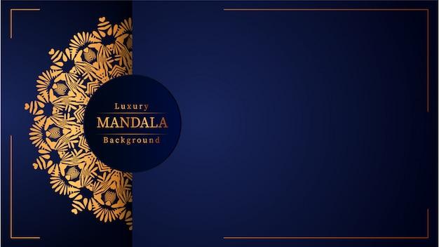 Kreatywnie Luksusowy Mandala Tło Z Złotym Arabeska Wzorem Premium Wektorów