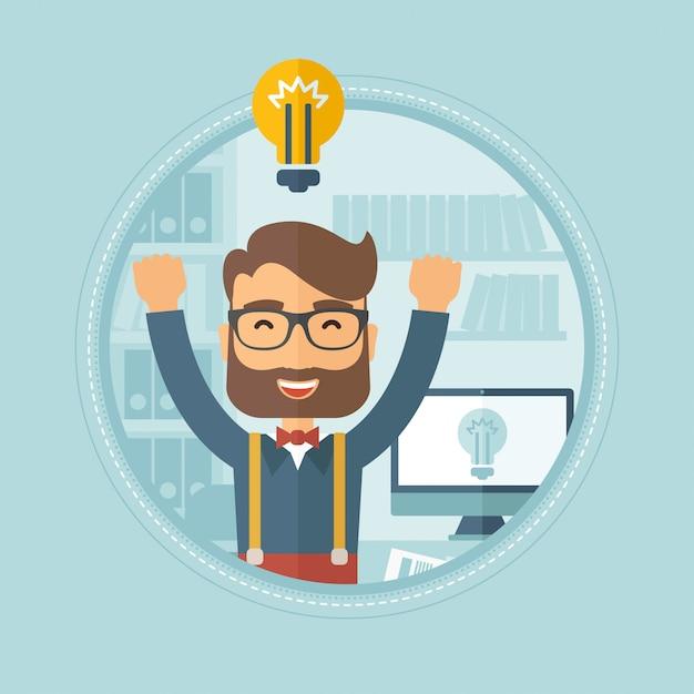 Kreatywnie podekscytowany mężczyzna ma biznesowego pomysł. Premium Wektorów