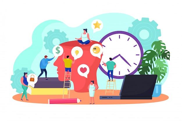 Kreatywnie Pomysł Myśleć Pracę Zespołową, Ilustracja. Pracownicy Biznesu Wspólnie Dokonują Burzy Mózgów, Rozwijają Pomysł. Dyrektor Kreatywny Premium Wektorów