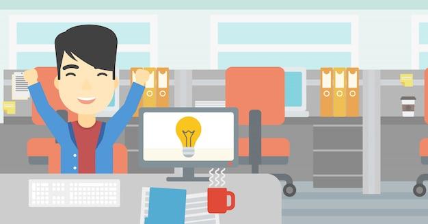 Kreatywnie Z Podnieceniem Mężczyzna Ma Biznesowego Pomysł. Premium Wektorów
