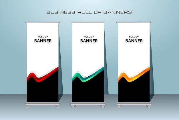 Kreatywny Biznes Roll Up Banner. Stały Projekt Bannera. Premium Wektorów