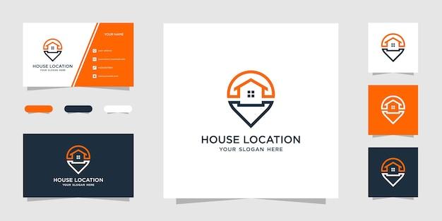 Kreatywny Dom Lokalizacja Prosty Szablon Projektu Logo I Wizytówka Premium Wektorów