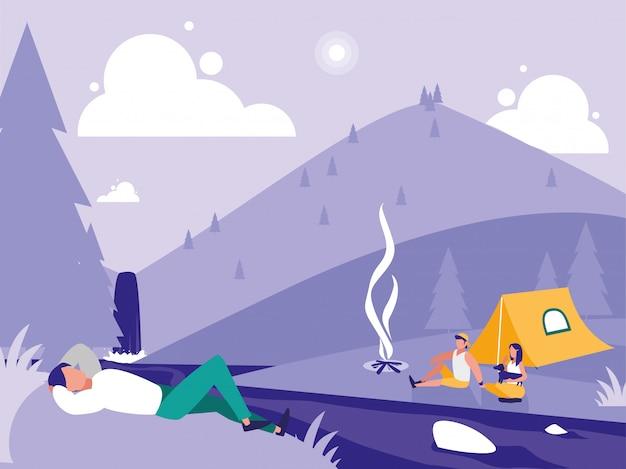 Kreatywny krajobraz z ludźmi obozującymi Premium Wektorów
