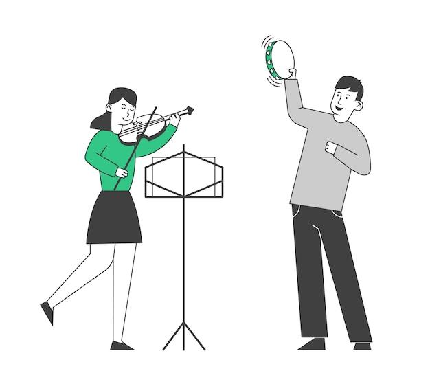 Kreatywny Muzyczny Duet Chłopca Grającego Na Tamburnie Premium Wektorów