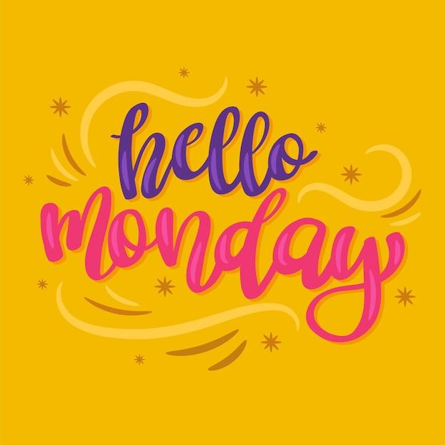 Kreatywny Napis Witaj W Poniedziałek Premium Wektorów