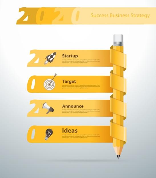 Kreatywny ołówek nowy rok 2020 projekt transparentu kalendarza, Premium Wektorów