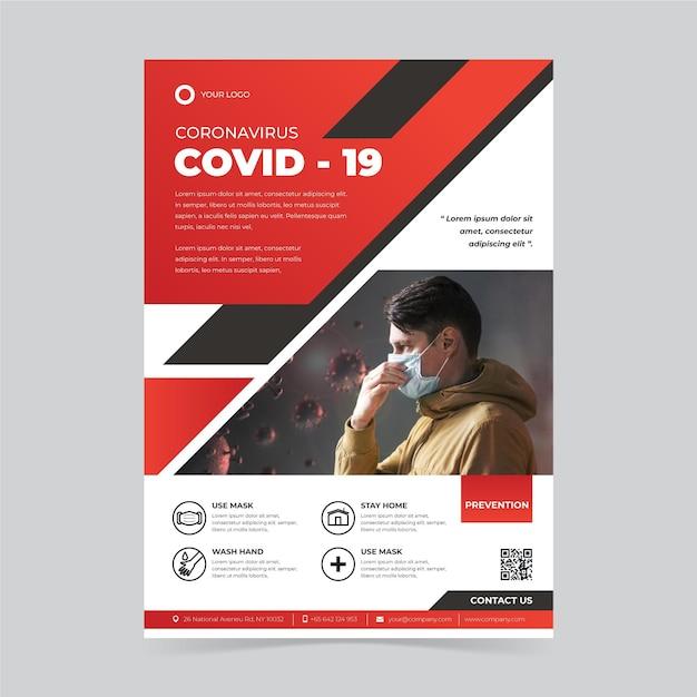 Kreatywny Plakat Covid-19 Z Przydatnymi Informacjami Premium Wektorów