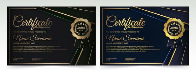 Kreatywny projekt ciemnego dyplomu z medalem Premium Wektorów