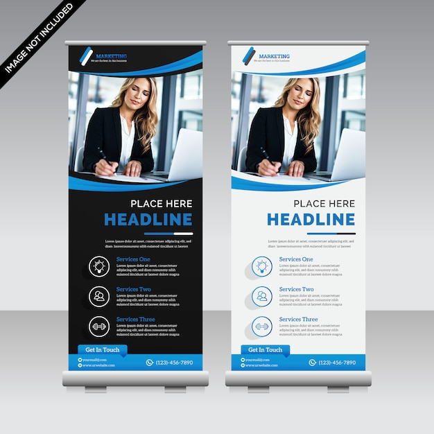 Kreatywny roll up banner premium Premium Wektorów