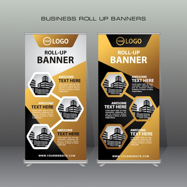 Kreatywny Rzut Transparent Szablon Projektu W Kolorze Złotym I Czarnym Premium Wektorów