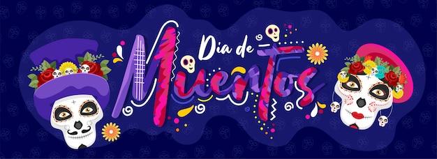 Kreatywny tekst dia de muertos z cukrowymi czaszkami na niebieskim wzorze czaszki na dzień zmarłych. nagłówek lub baner. Premium Wektorów