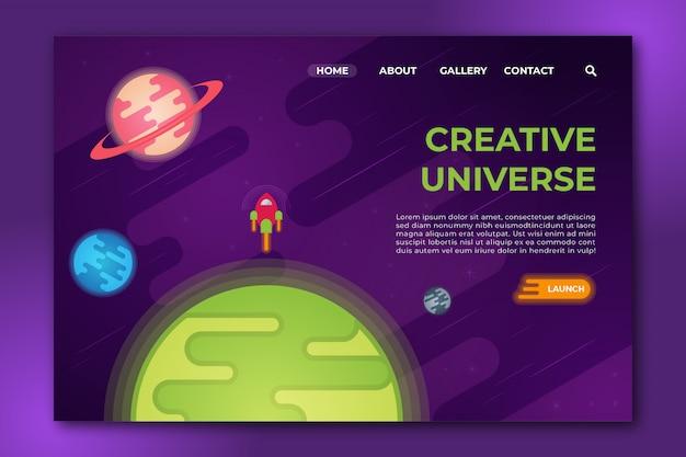 Kreatywny Wszechświat Płaska Konstrukcja Czysta Strona Docelowa Premium Wektorów
