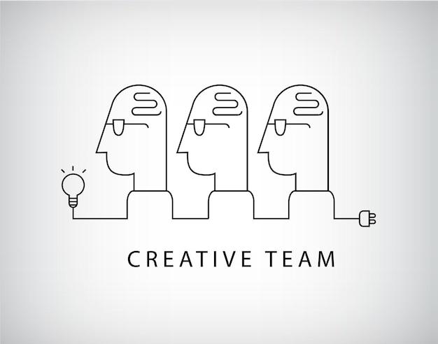 Kreatywny Zespół, Logo Grupy Roboczej, Linear. Premium Wektorów