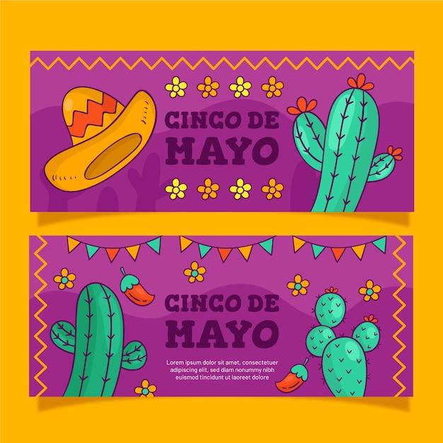 Kreatywny Zestaw Bannerów Cinco De Mayo Darmowych Wektorów