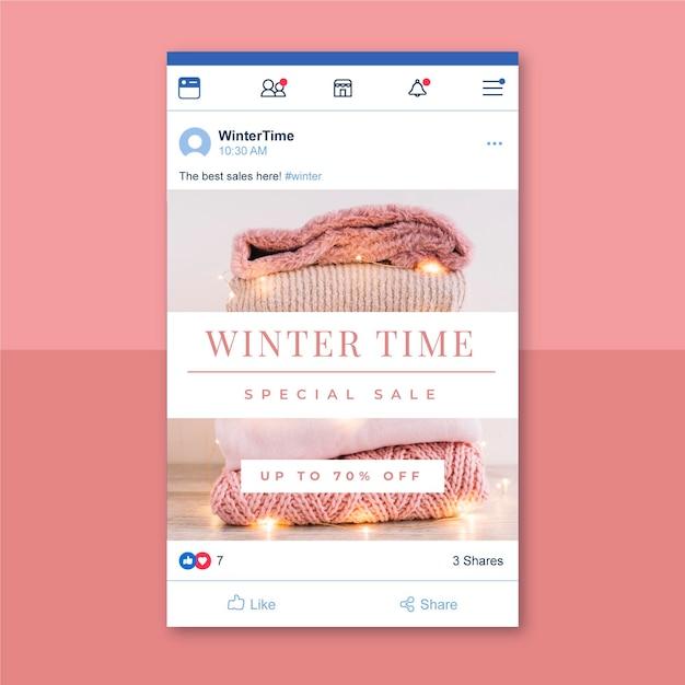Kreatywny Zimowy Post Na Facebooku Darmowych Wektorów