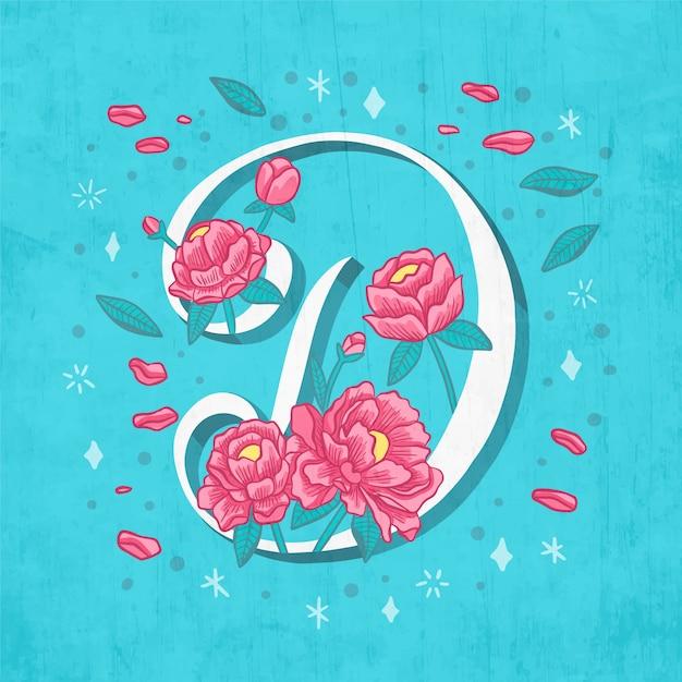 Kreatywnych D List Z Kwiatów I Liści Premium Wektorów