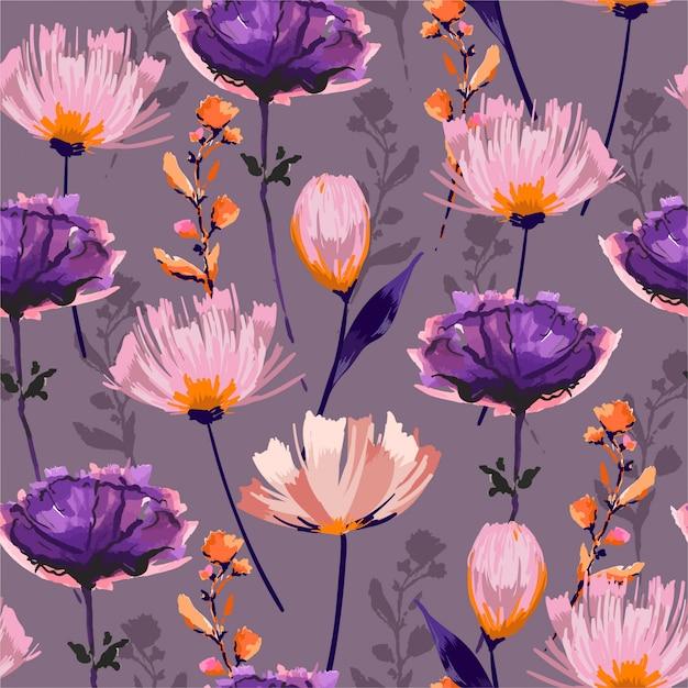 Kreatywnych Ręcznie Rysowane Obrysu Pędzla Tle Kwiatów. Wzór Premium Wektorów