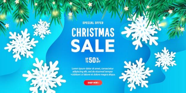 Kreatywnych Wesołych świąt Zniżki Banner Lub Plakat Z 3d Papierowe Płatki śniegu Unoszące Się W Powietrzu Premium Wektorów