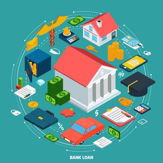 Kredyt bankowy izometryczny koncepcja Darmowych Wektorów