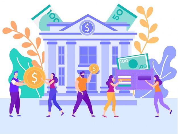 Kredyt bankowy, płaski wektor kredyt konsumencki Premium Wektorów