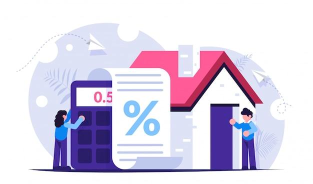 Kredyt Hipoteczny Na Tle Kalkulatora I Domu Premium Wektorów