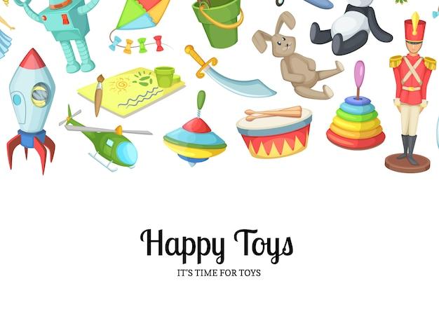 Kreskówek dzieci zabawki z copyspace ilustracją Premium Wektorów