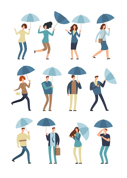 Kreskówek ludzie z parasolem w deszczowym dniu. Premium Wektorów