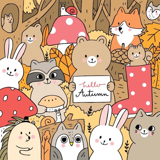 Kreskówek śliczni zwierzęta jesień w lasowym wektorze. Premium Wektorów