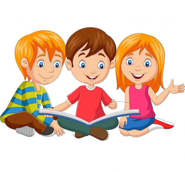 Kreskówek Szczęśliwi Dzieciaki Czyta Książkę Premium Wektorów